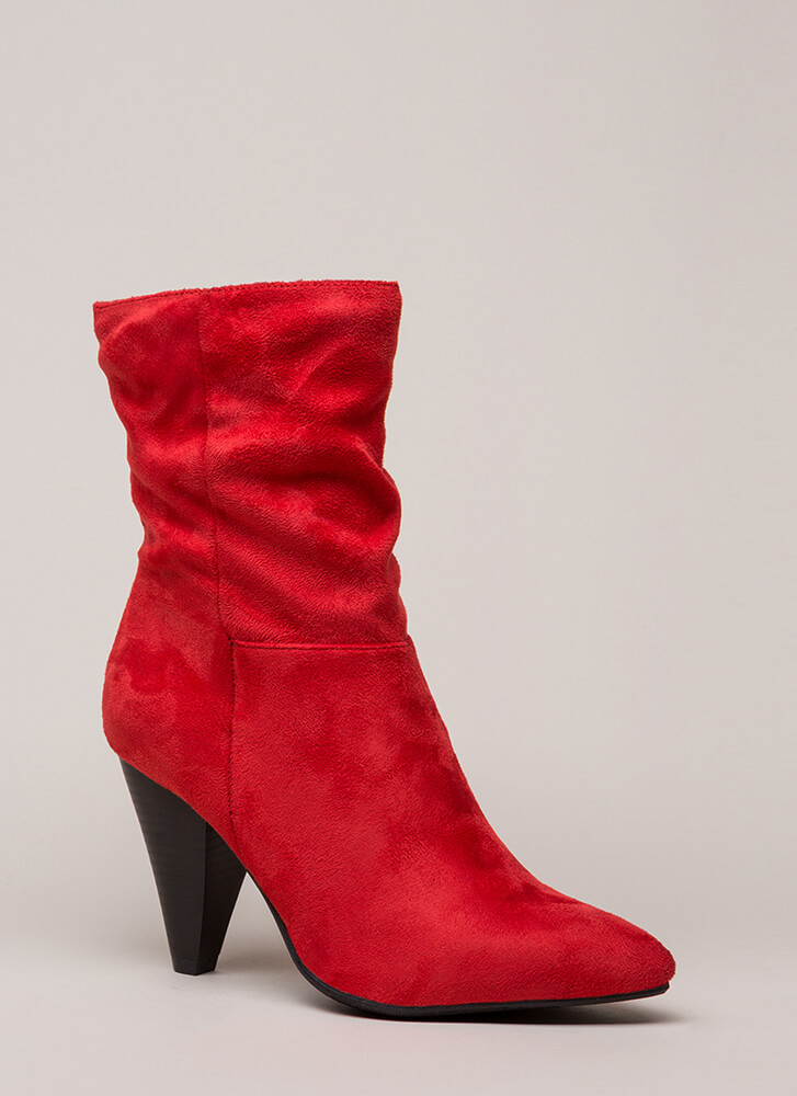 Chic For Yourself Cone Heel Boots RED (You Saved $28)