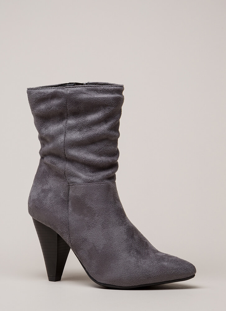 Chic For Yourself Cone Heel Boots STEELGREY (You Saved $28)