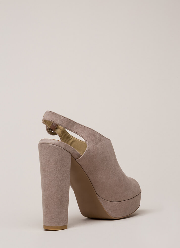 Dearly Beloved Peep-Toe Platforms TAUPE