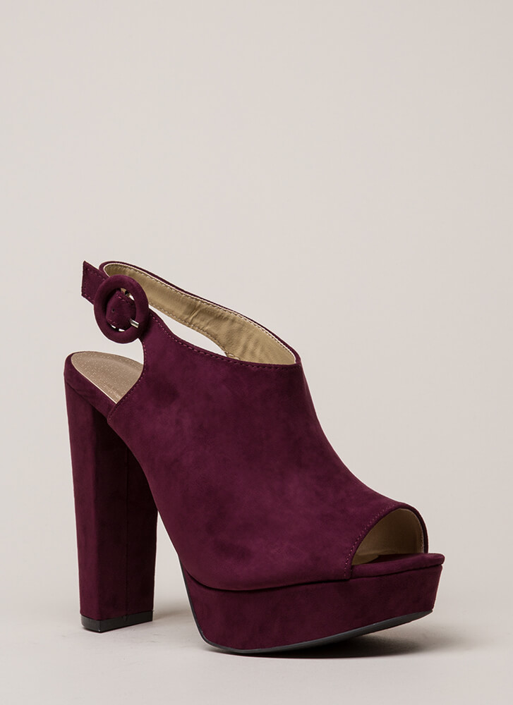 Dearly Beloved Peep-Toe Platforms WINE