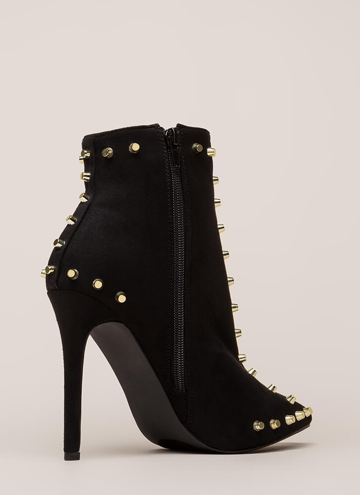 Badass Babe Pointy Studded Booties BLACK