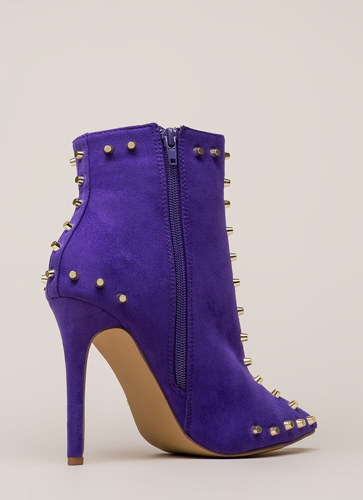 Badass Babe Pointy Studded Booties VIOLET (Final Sale)