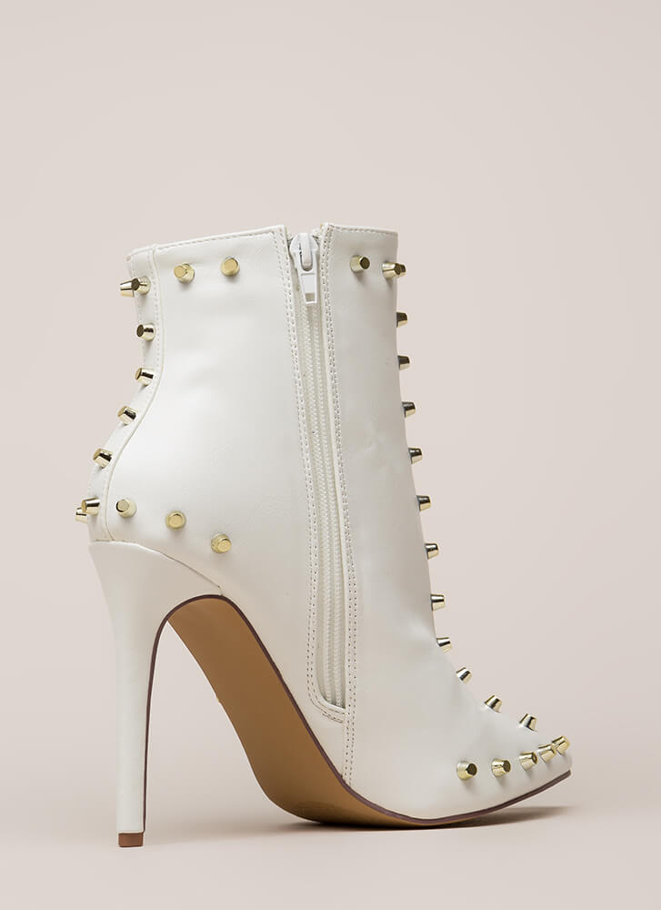 Badass Babe Pointy Studded Booties WHITE (Final Sale)