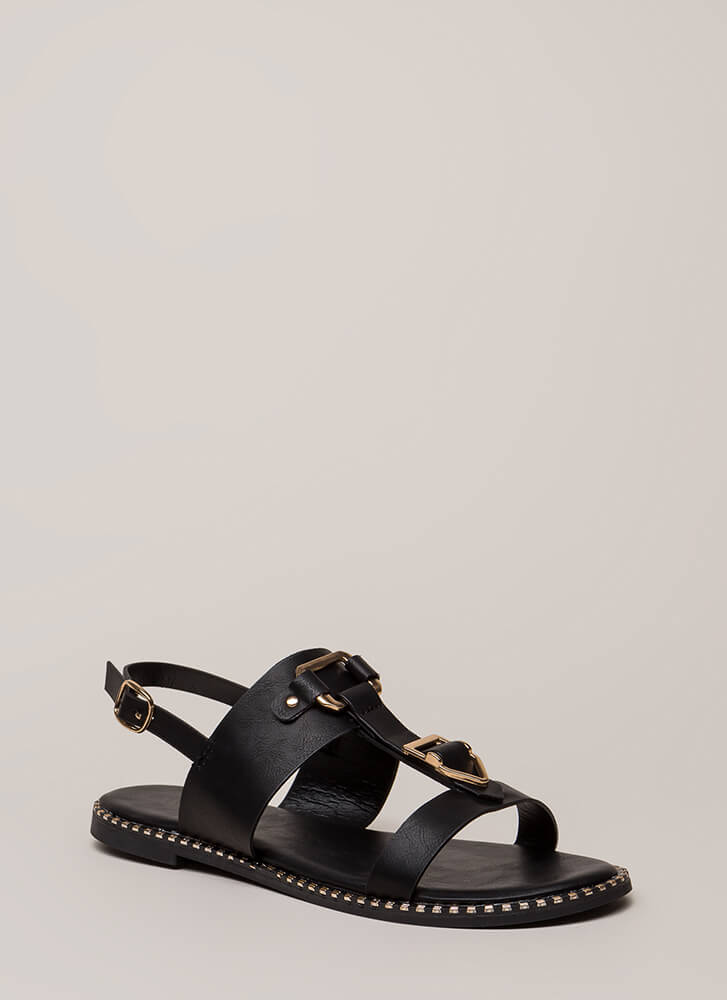 Buckled Beauty Strappy Sandals BLACK
