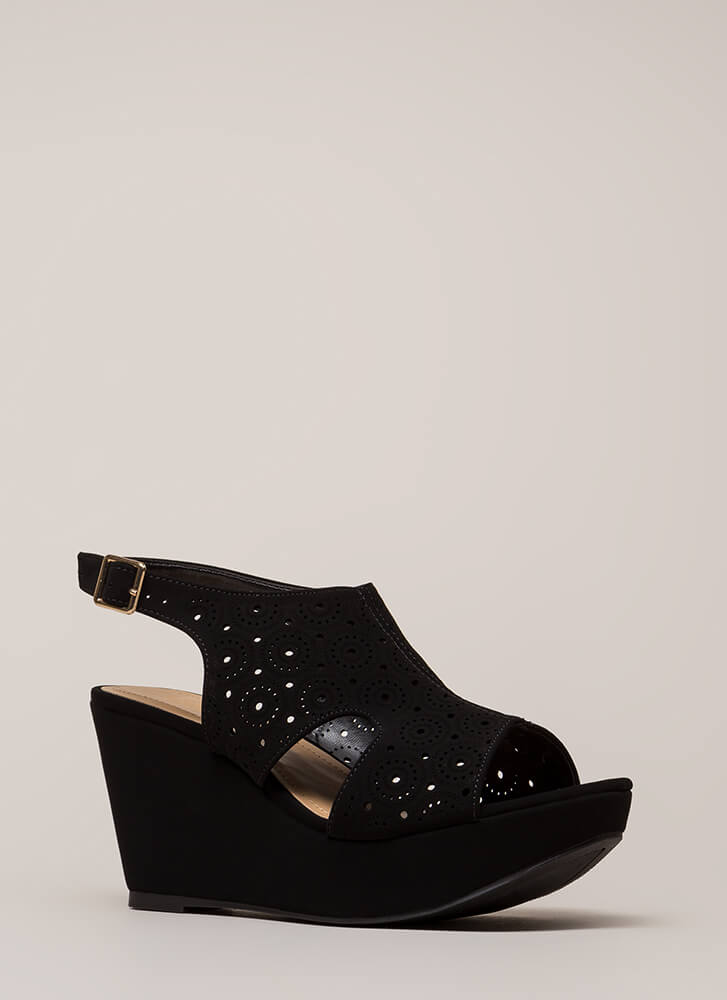 Put Rings On It Cut-Out Platform Wedges BLACK