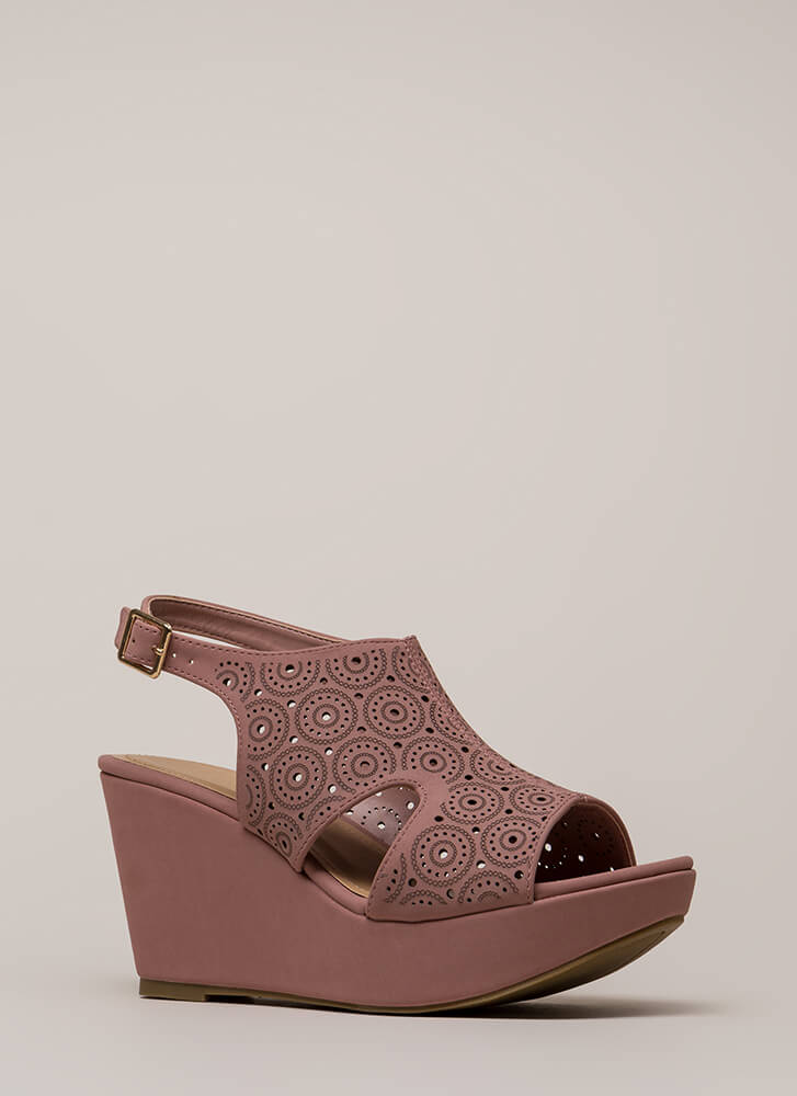 Put Rings On It Cut-Out Platform Wedges MAUVE (You Saved $20)