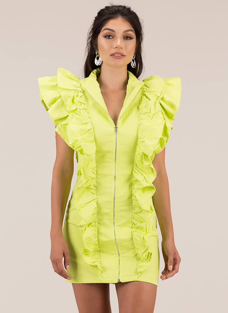 Frill Life Ruffled Zip-Front Minidress LIME