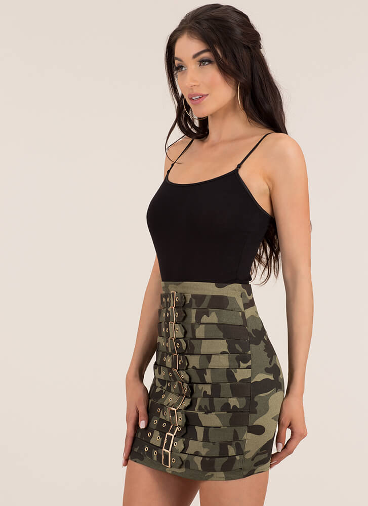 Camo Convert Strappy Buckled Miniskirt CAMO