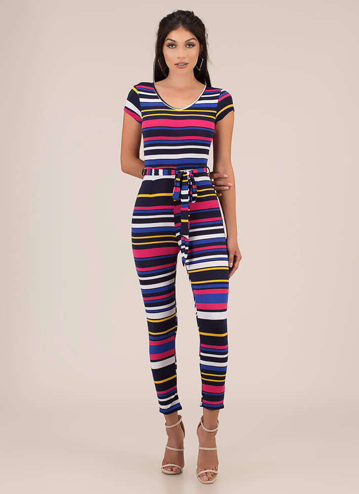 Stripe For Your Right Belted Jumpsuit BLUEMULTI