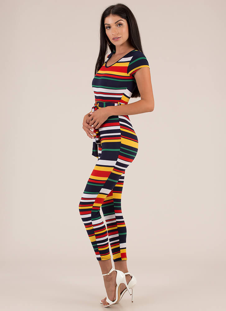 Stripe For Your Right Belted Jumpsuit REDMULTI
