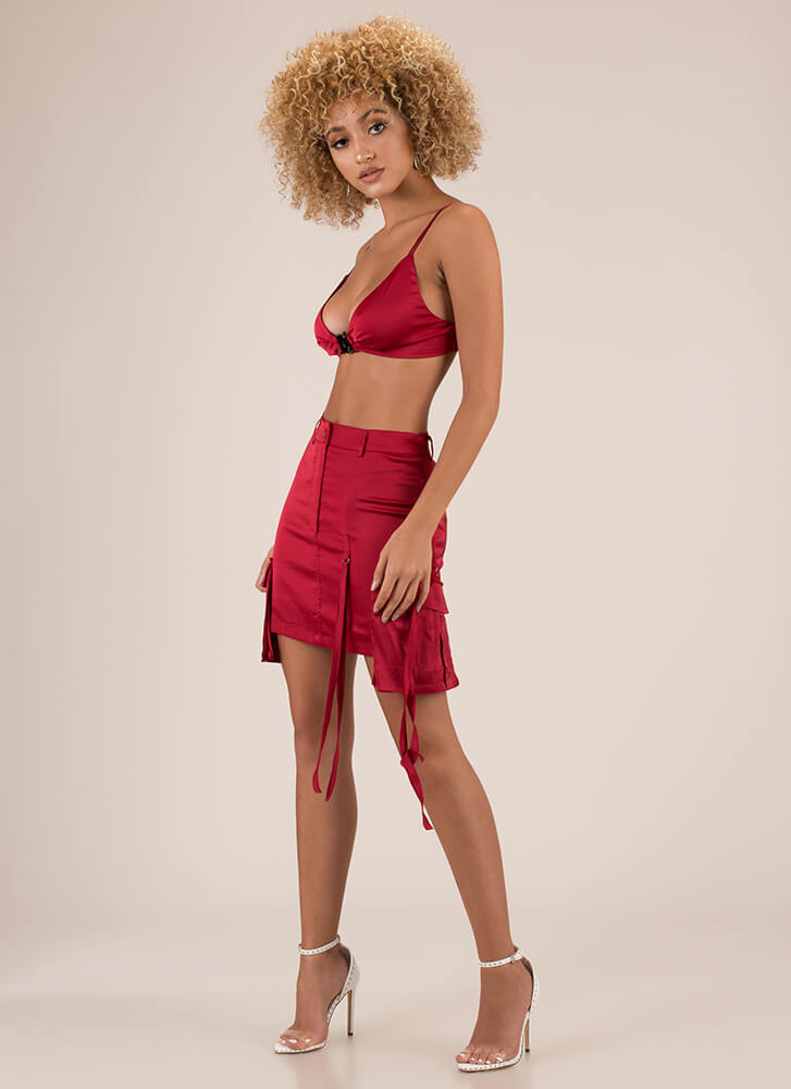 Hot Cargo Satin Bra Top And Skirt Set RED