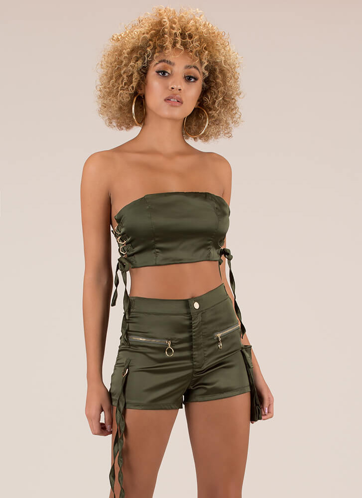 Hot Cargo Lace-Up Satin 2-Piece Set OLIVE