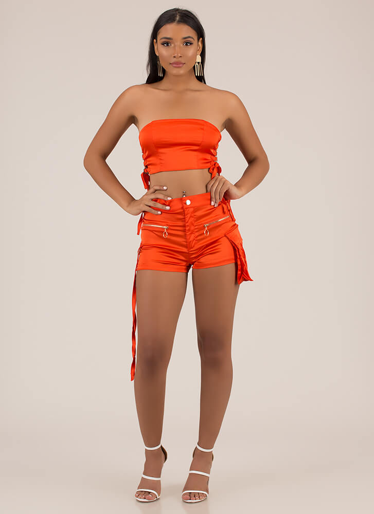 Hot Cargo Lace-Up Satin 2-Piece Set ORANGE