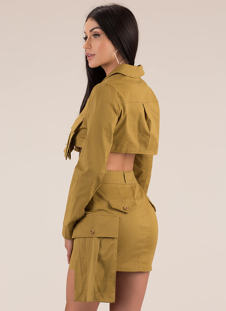 Pocket Launch Cargo Top And Skirt Set KHAKI