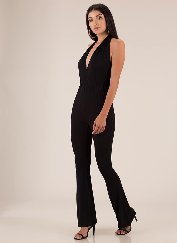 I'm The One Yeah Flared Halter Jumpsuit BLACK