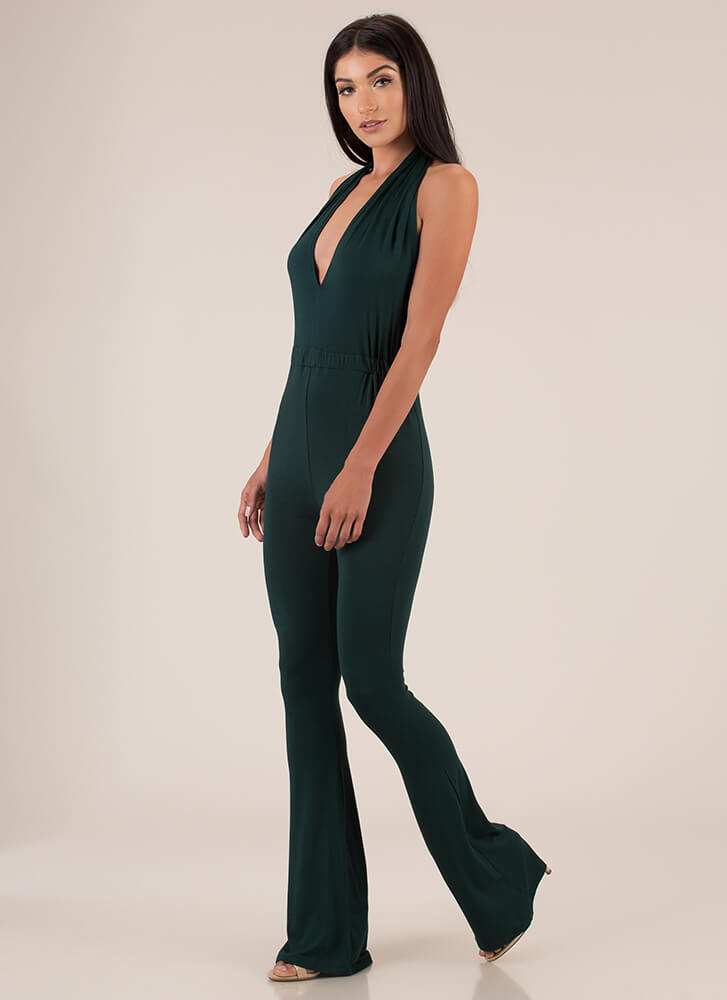 I'm The One Yeah Flared Halter Jumpsuit HGREEN