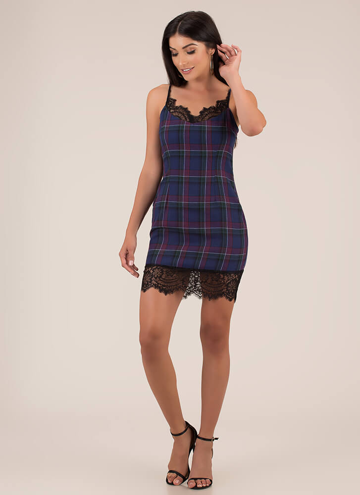 Lace Is More Plaid Cami Minidress NAVY
