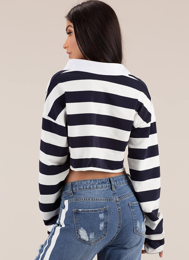 Team Player Striped Collared Crop Top NAVY