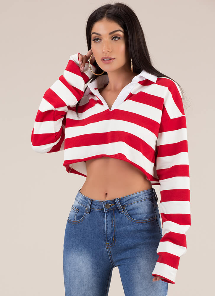 Team Player Striped Collared Crop Top RED