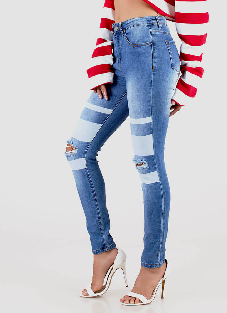 Stripe Three Distressed Skinny Jeans BLUE