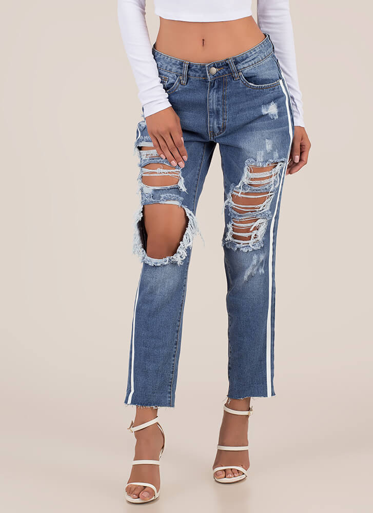Two Striped Destroyed Boyfriend Jeans BLUE