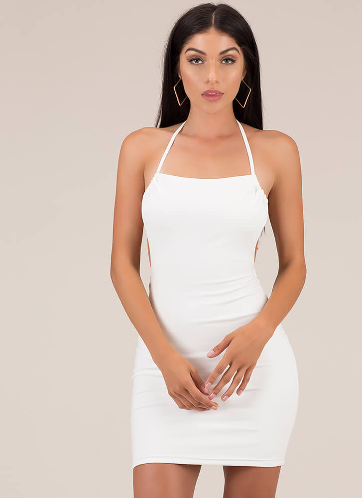 From Every Angle Halter Minidress WHITE