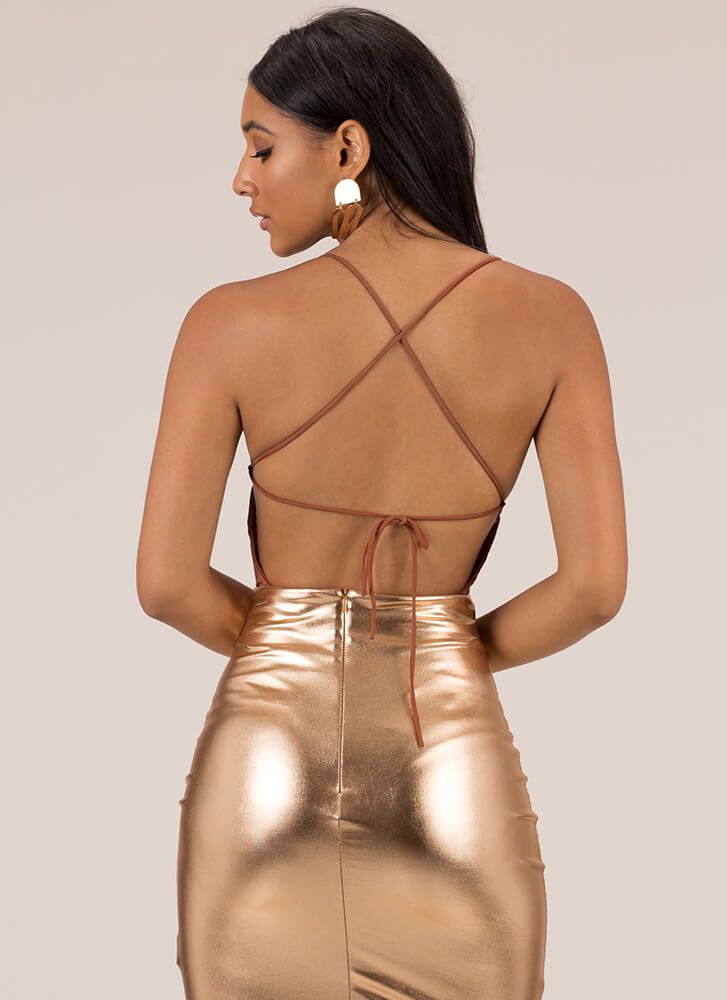 Lace-Back And Forth Thong Bodysuit COPPER (Final Sale)
