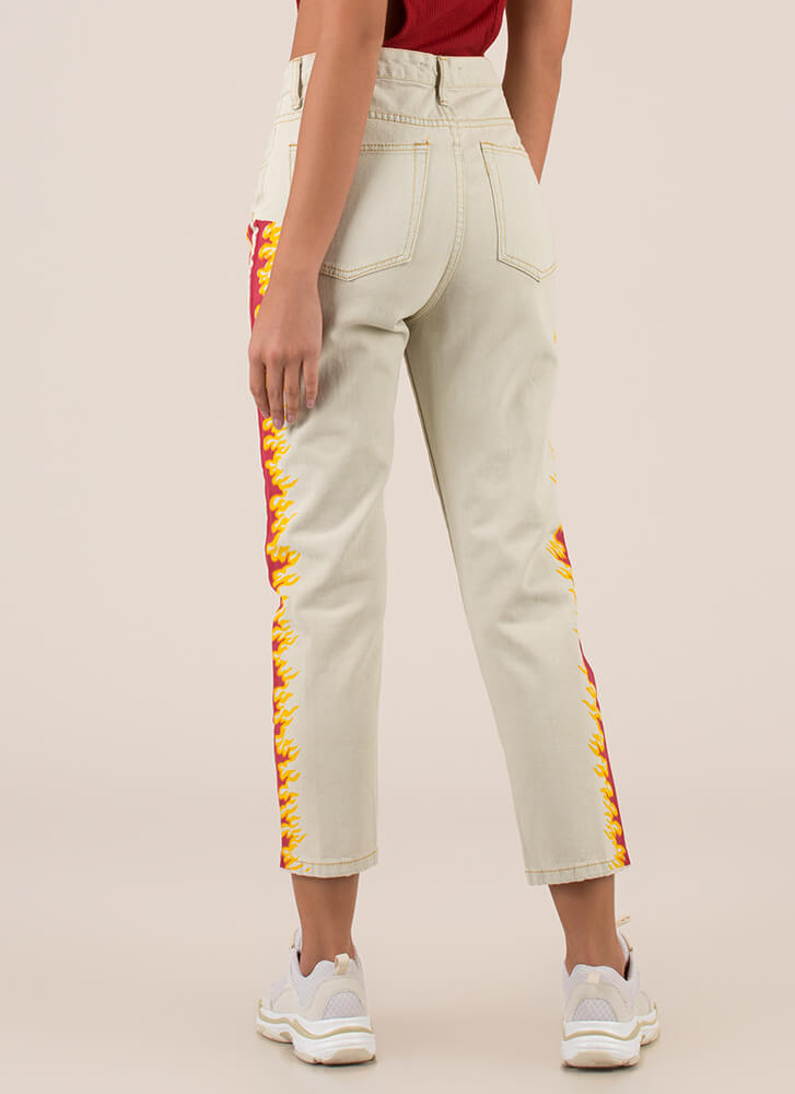 Feed The Fire Cropped High-Waisted Jeans LTBLUE