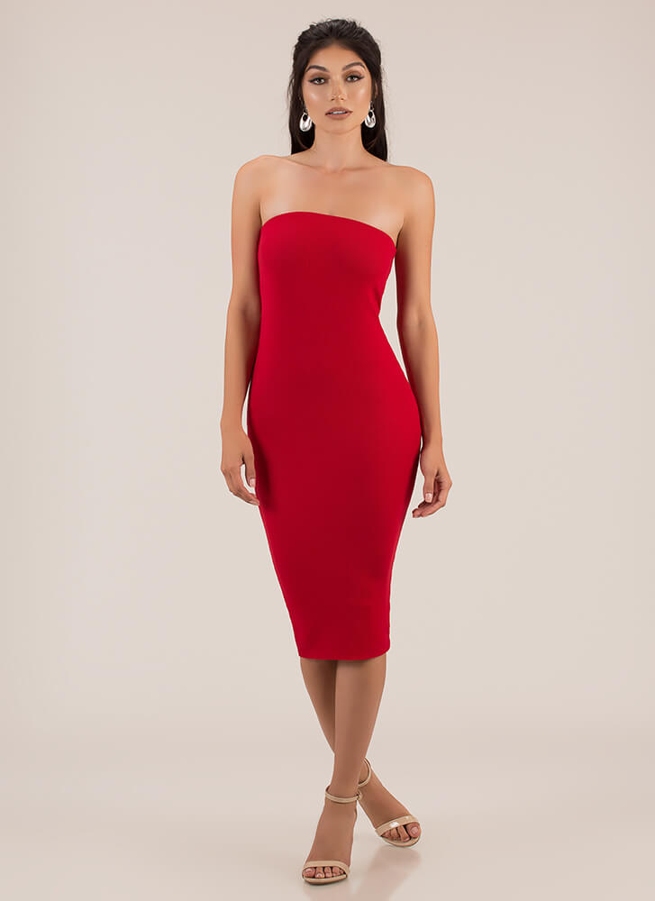You're Everything Rib Knit Tube Dress RED