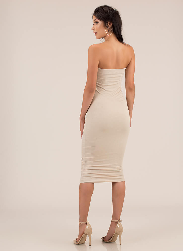 You're Everything Rib Knit Tube Dress TAUPE