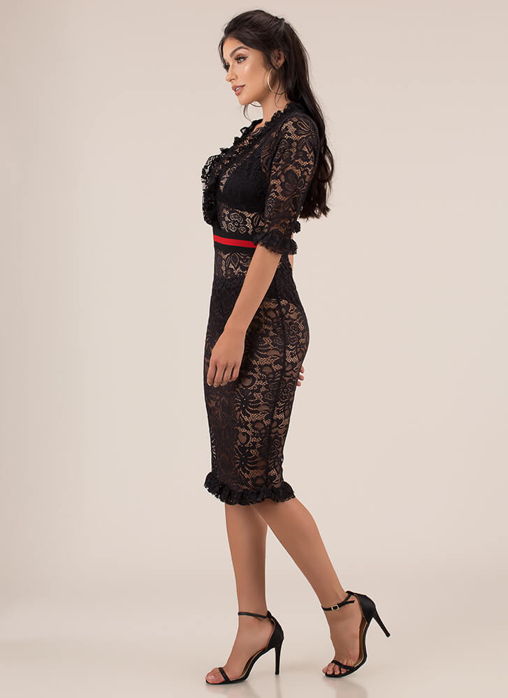 Waist Not Want Not Ruffled Lace Dress BLACK