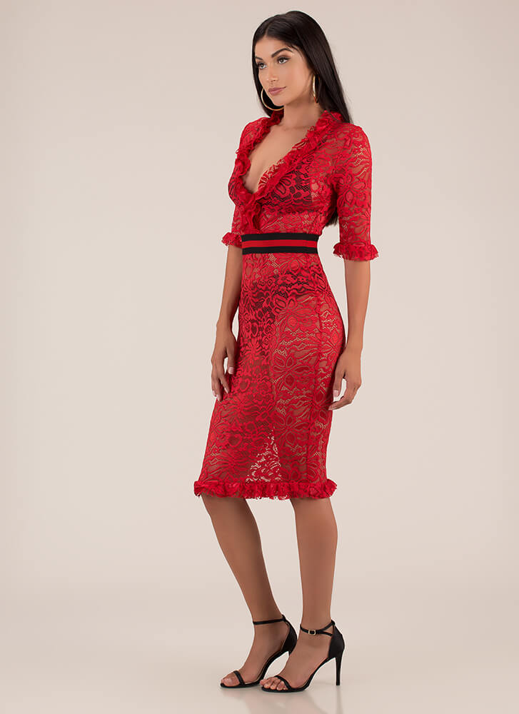 Waist Not Want Not Ruffled Lace Dress RED