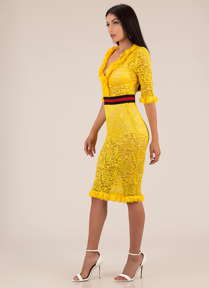 Waist Not Want Not Ruffled Lace Dress YELLOW