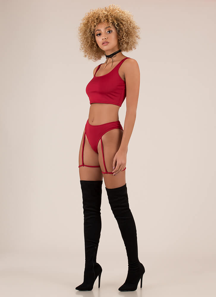 Garter It With Your Life Two-Piece Set RED