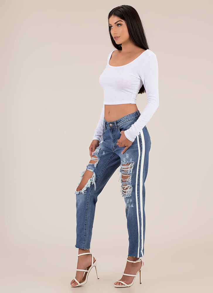 By A Wide Margin Rib Knit Crop Top WHITE