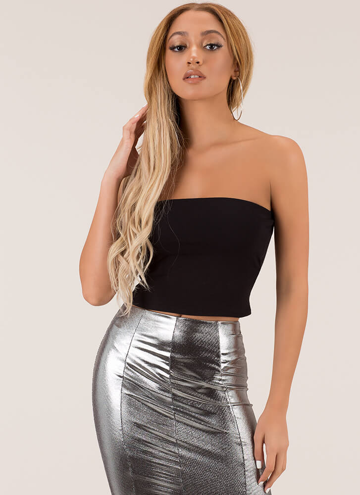 Each And Every Day Cropped Tube Top BLACK