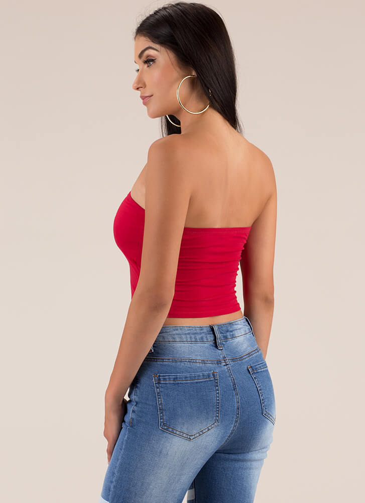 Each And Every Day Cropped Tube Top RED