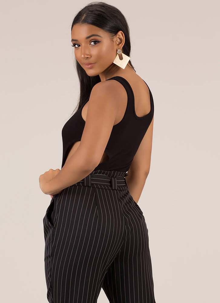 Side With Me Ribbed Cut-Out Bodysuit BLACK
