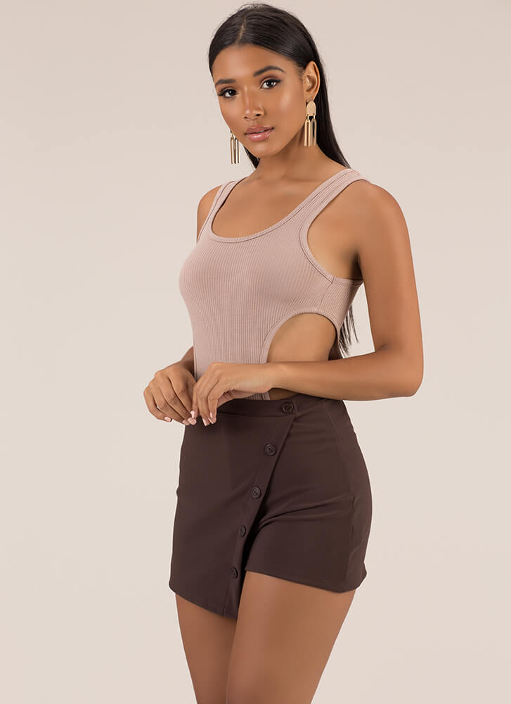 Side With Me Ribbed Cut-Out Bodysuit MOCHA