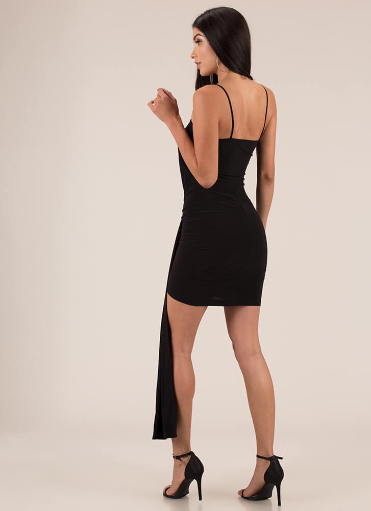 Draped Expectations Gathered Minidress BLACK (Final Sale)