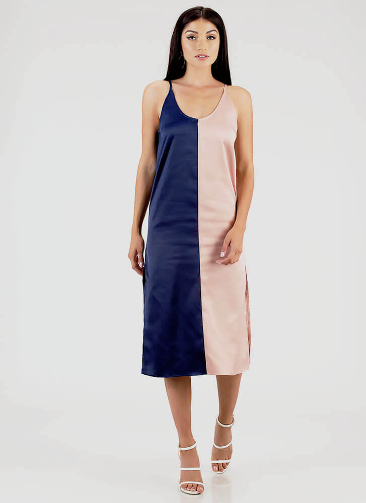 Half It Your Way Colorblock Shift Dress NAVYPINK
