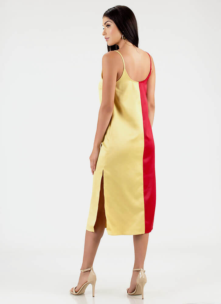 Half It Your Way Colorblock Shift Dress REDYELLOW