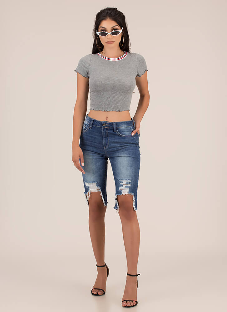 Stripe Out Lettuce-Edged Crop Top GREY