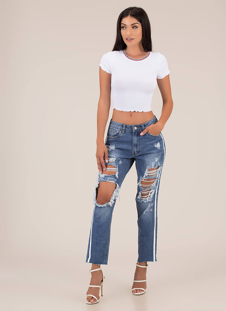 Stripe Out Lettuce-Edged Crop Top WHITE
