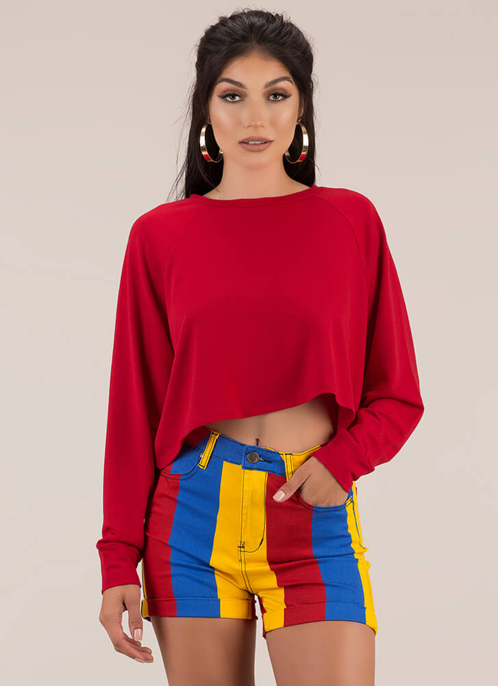 Casual Relationship Oversized Crop Top RED
