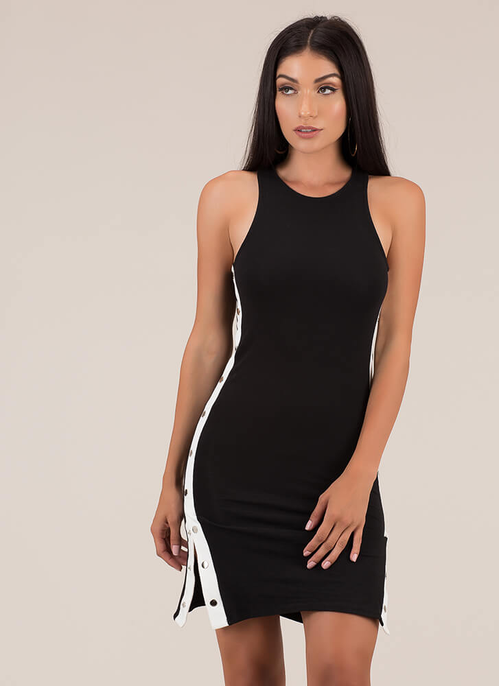 Keep Your Options Open Snap Button Dress BLACK