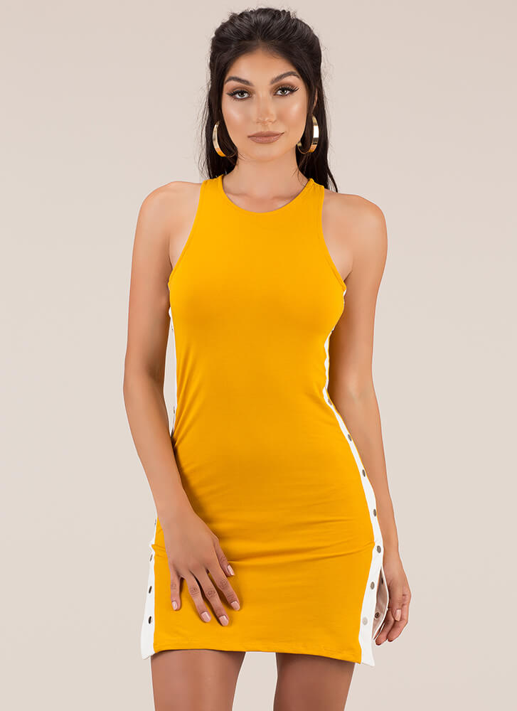 Keep Your Options Open Snap Button Dress MUSTARD