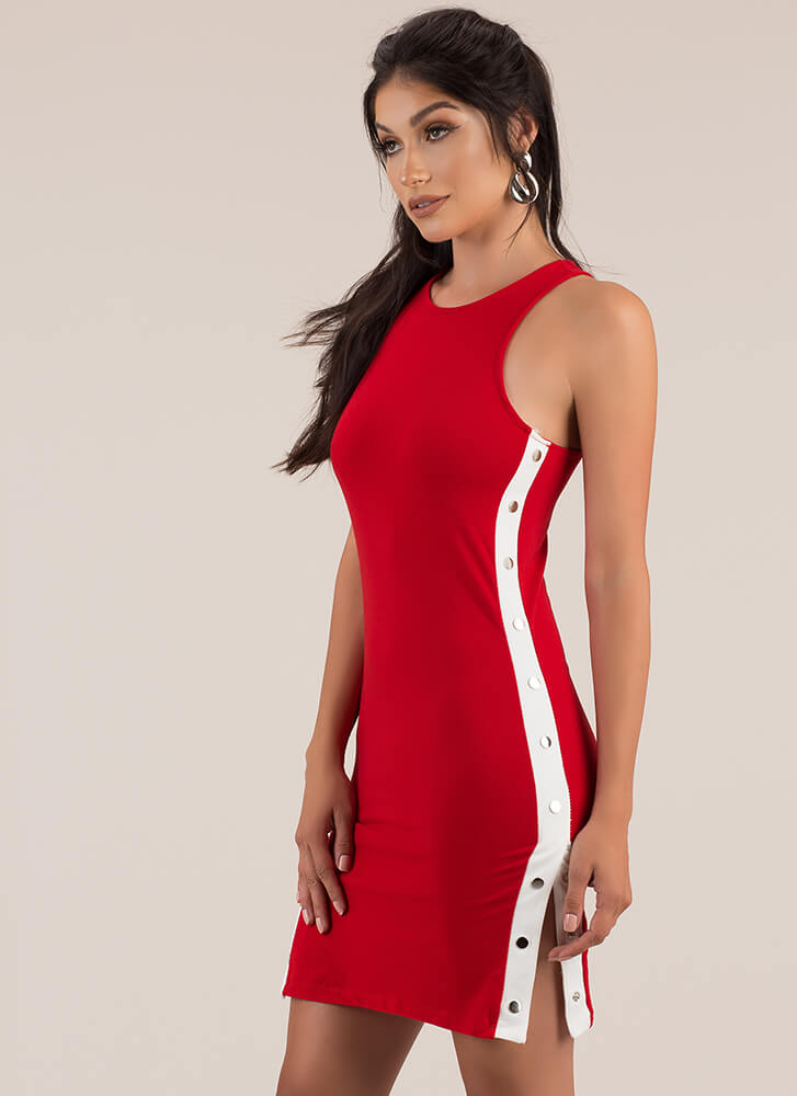 Keep Your Options Open Snap Button Dress RED