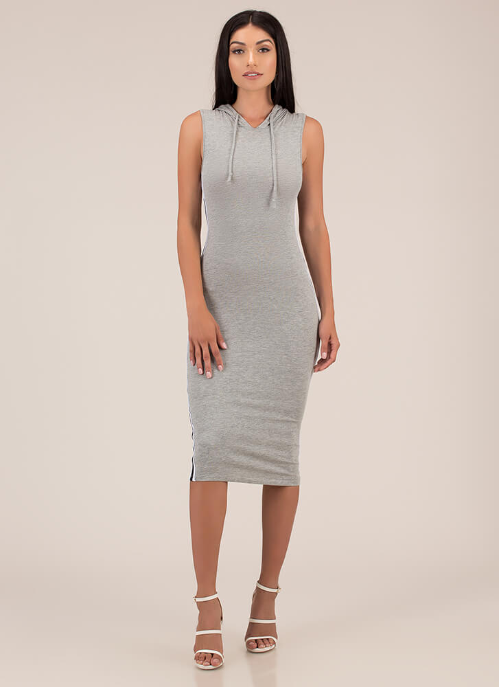 Keep It Casual Hooded Striped Dress HGREY