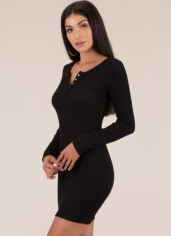 Get Going Ribbed Snap Button Minidress BLACK